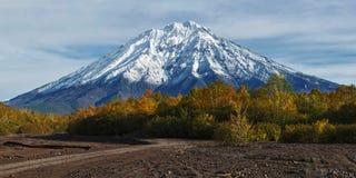 Berglandskap av den Kamchatka halvön: Koryaksky vulkan Arkivfoton