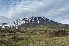 Berglandskap av Kamchatka: Oval Zimina vulkan Royaltyfria Foton