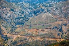 Berglandskap av Kretaön, Grekland Royaltyfri Fotografi