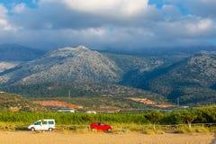 Berglandskap av Kreta nära Malia, Grekland Arkivfoto