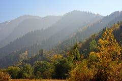 Berglandskap i Almaty, stor sjö arkivbild