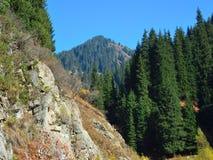 Berglandskap i Almaty, stor sjö royaltyfria foton