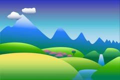Berglandskap i blått- och gräsplanbakgrund, med utrymme för text Arkivfoton