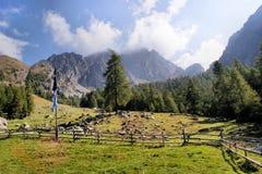 Berglandskap i de Sarntal fjällängarna Arkivfoto