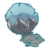Berglandskap i en ram Arkivfoto