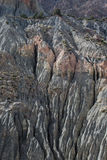 Berglandskap i fannberg, Tadzjikistan riden ut rock Arkivfoton