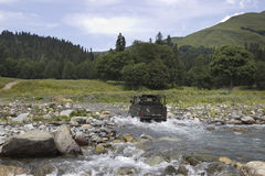 Berglandskap i Kaukasuset Arkivfoto