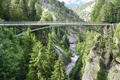 Berglandskap med bron switzerland Royaltyfri Fotografi