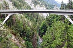 Berglandskap med bron switzerland Royaltyfri Foto