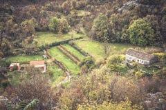 Berglandskap med den lokala byn i berg bland träd i det Europa landet Montenegro arkivbild