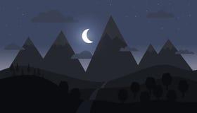 Berglandskap med den växande månen Royaltyfri Fotografi