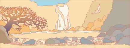 Berglandskap med en vattenfall Arkivbild