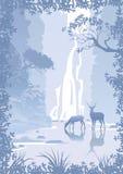 Berglandskap med en vattenfall Arkivfoto
