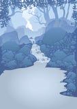 Berglandskap med en vattenfall Royaltyfria Bilder
