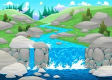 Berglandskap med floden. Arkivbild