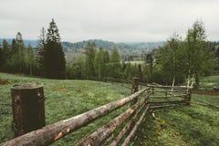 Berglandskap med granträd och trästaket royaltyfria bilder