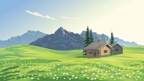 Berglandskap med hus stock illustrationer