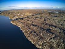 Berglandskap med molnig himmel, flyg- sikt Arkivbilder