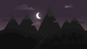 Berglandskap med purpurfärgad himmel Royaltyfri Foto