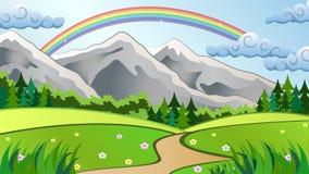Berglandskap med regnbågen Arkivfoto