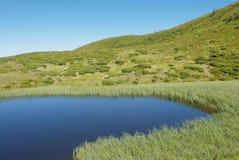 Berglandskap med sjön i Carpathians Arkivbilder