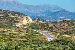 Berglandskap nära den Kritsa byn, Katharo platå, Kreta Royaltyfri Fotografi