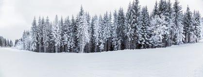 Berglandskap och panoramor av snö-korkade bergmaxima Arkivbilder