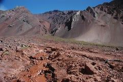 Berglandskap på den Aconcagua toppmötet Fotografering för Bildbyråer