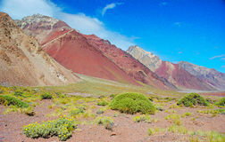Berglandskap på den Aconcagua toppmötet Royaltyfria Foton