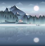 Berglandskap på natten med huset på sidan av The Like vektor illustrationer