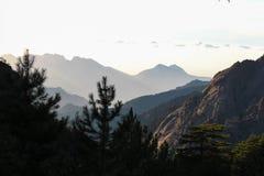 Berglandskap på soluppgång, Corse, Frankrike Arkivbilder