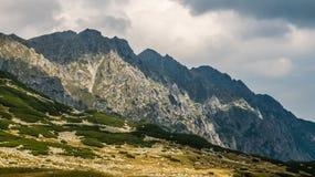Berglandskap p? en molnig dag royaltyfri foto