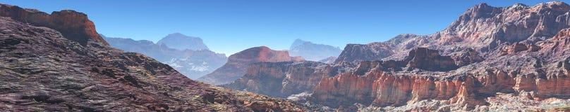 Berglandskap, panorama, baner stock illustrationer