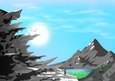 Berglandskap, stenig kontur med naturen, djur och djurlivbegrepp, affischaffärsföretag som reser, kortabstrakt begrepp vektor illustrationer