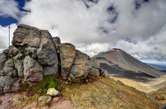 Berglandskap, Tongariro alpin korsning Royaltyfria Foton