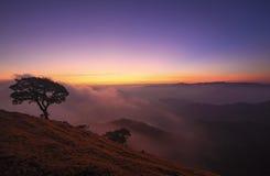 Berglandskap under soluppgång Arkivbilder