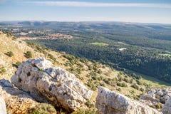 Berglandskap, övreGalilee i Israel Arkivfoton