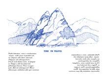 Berglandskapet skissar illustrationen bakgrund som tecknar den blom- gr?svektorn Utm?rkt f?r lopp och att fotvandra, turism, trek vektor illustrationer
