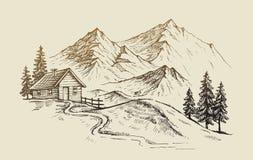 Berglandskapvektor royaltyfri illustrationer