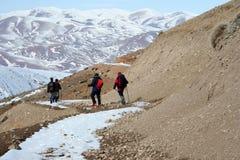 Bergliggande och trekking Arkivfoton