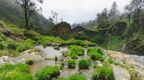 Bergliten vik, bergdal, vulkan, gröna kullar, bergflod, stigning till vulkan Fotografering för Bildbyråer