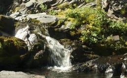Bergliten vik med en vattenfall Royaltyfri Foto