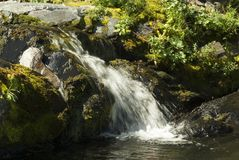 Bergliten vik med en vattenfall Arkivfoto