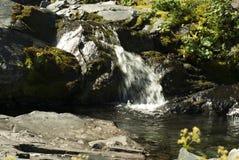 Bergliten vik med en vattenfall Arkivbild
