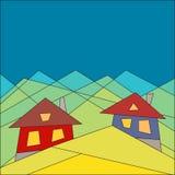 Berglivsstil houses berg Plan stil geometri blå vektor för sky för oklarhetsbildregnbåge stock illustrationer