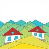 Berglivsstil houses berg Plan stil geometri blå vektor för sky för oklarhetsbildregnbåge vektor illustrationer