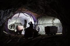 Bergmann im alten Bergwerk Stockfotografie