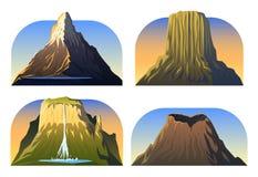 Bergmaxima, landskap tidigt i ett dagsljus, stor uppsättning vulkan matterhorn, roraimaen, vesuvius, jäklar står högt lopp eller royaltyfri illustrationer