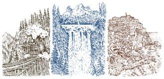 Bergmaxima med skogen och vattenfallet Grafiskt monokromt landskap inristade handen drog gamla skissar vektor stock illustrationer