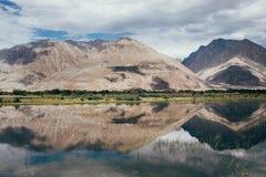 Bergmaxima reflekterar i den vattenNubra floden Arkivfoton